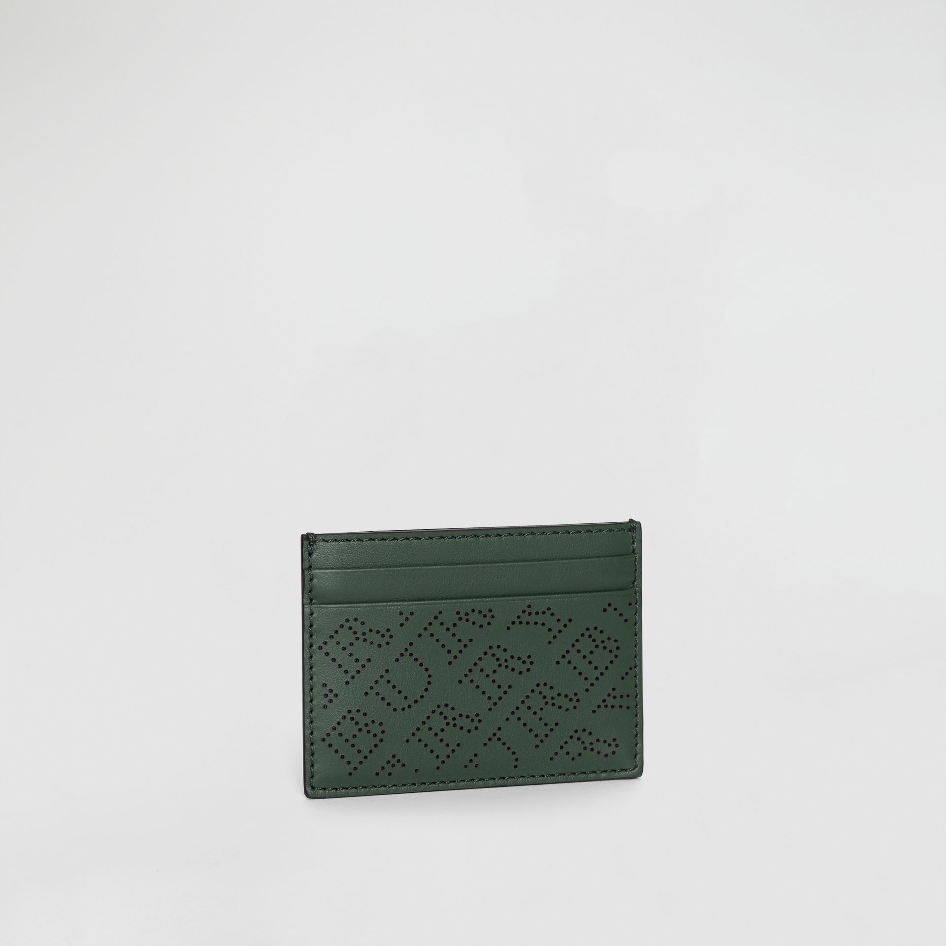 Perforated Logo Leather Card Case in Vintage Green - Women | Burberry Australia - gallery image 4