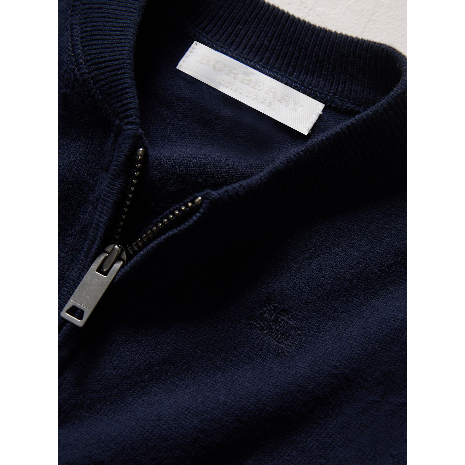 Check Detail Cotton Cardigan in Navy | Burberry United Kingdom - gallery image 1
