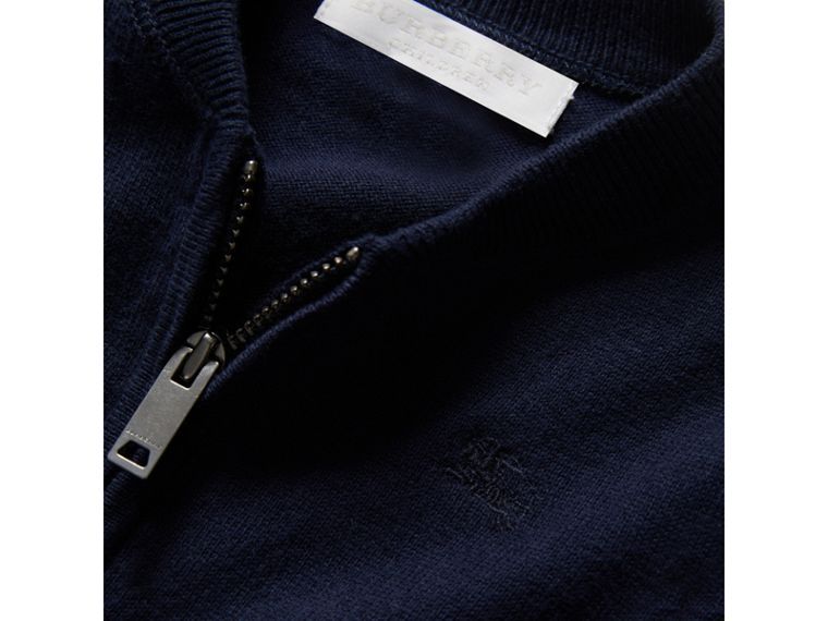 Check Detail Cotton Cardigan in Navy | Burberry - cell image 1