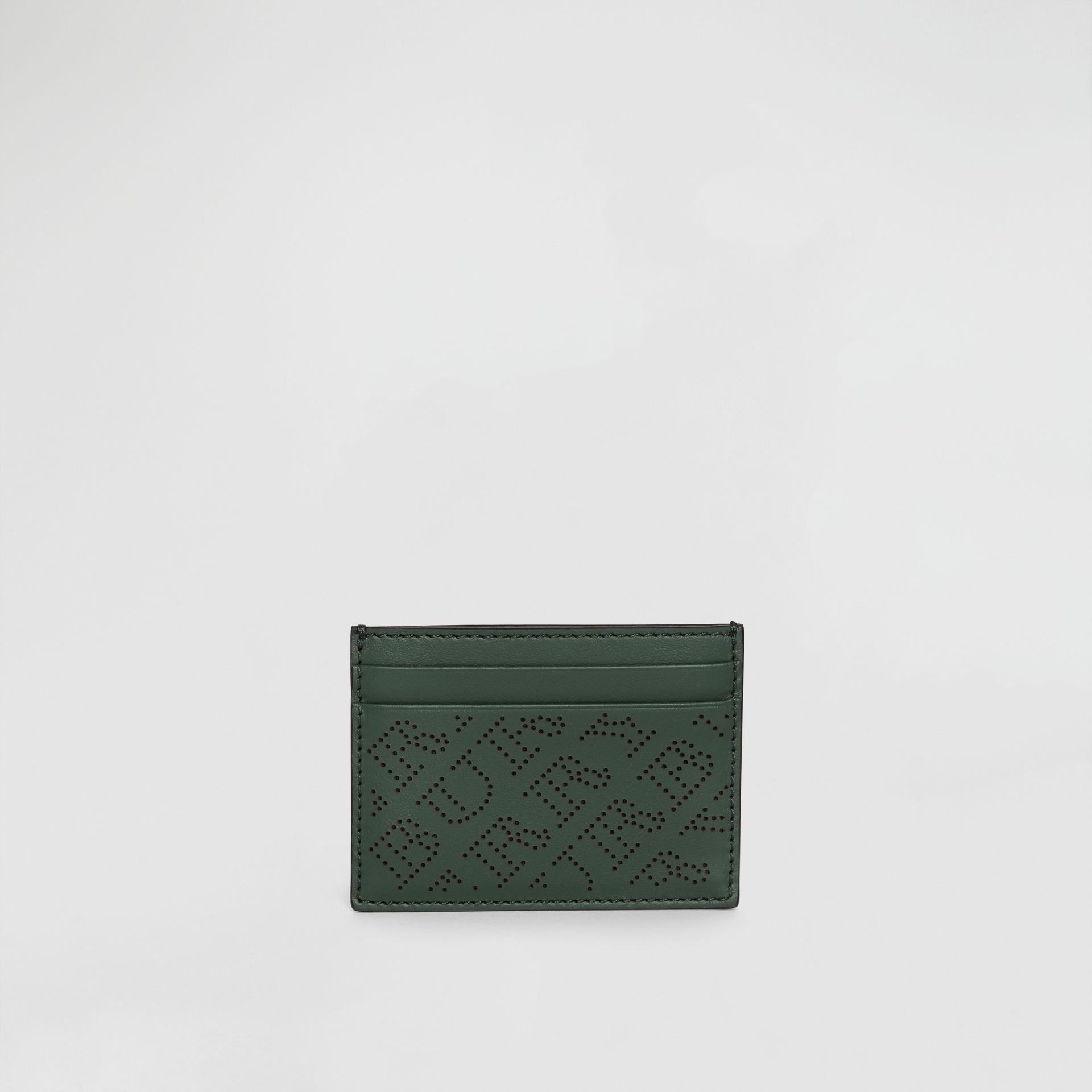 Perforated Logo Leather Card Case in Vintage Green - Women | Burberry - gallery image 2