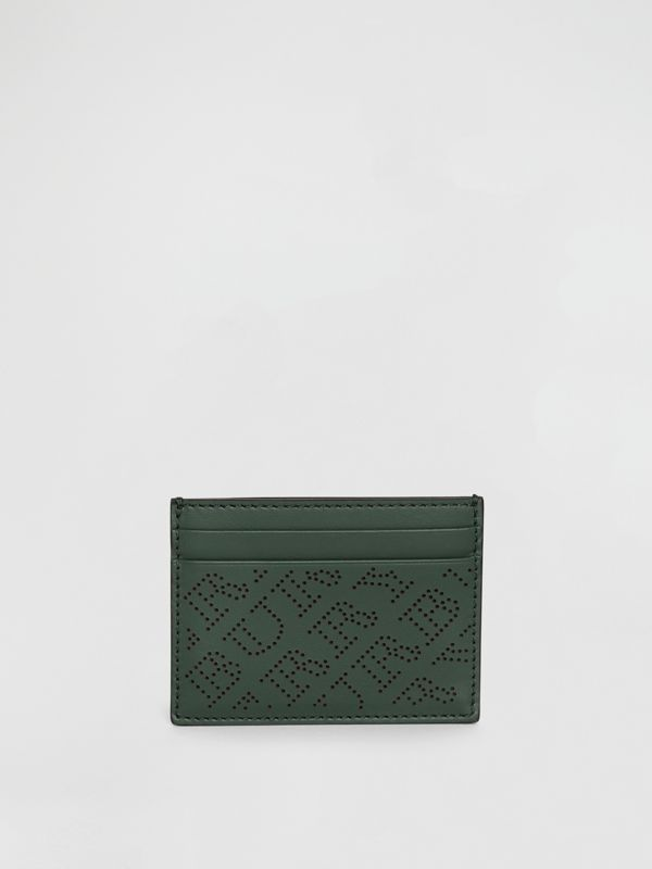 Perforated Logo Leather Card Case in Vintage Green - Women | Burberry Australia - cell image 2