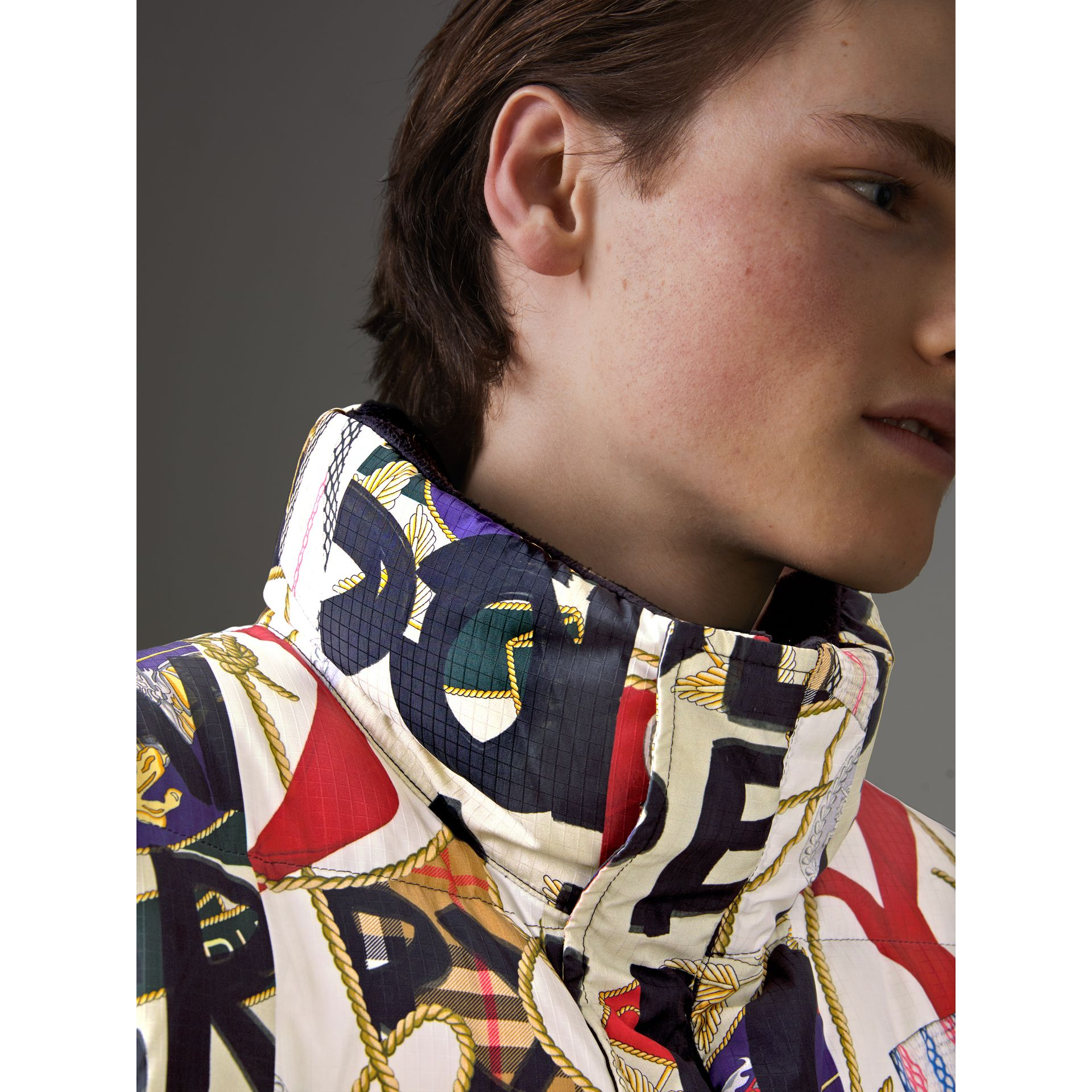 Graffiti Archive Scarf Print Down-filled Puffer Jacket in Stone - Men | Burberry United States - gallery image 1