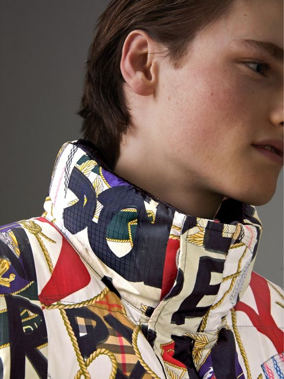 Graffiti Archive Scarf Print Down-filled Puffer Jacket in Stone - Men | Burberry - cell image 1