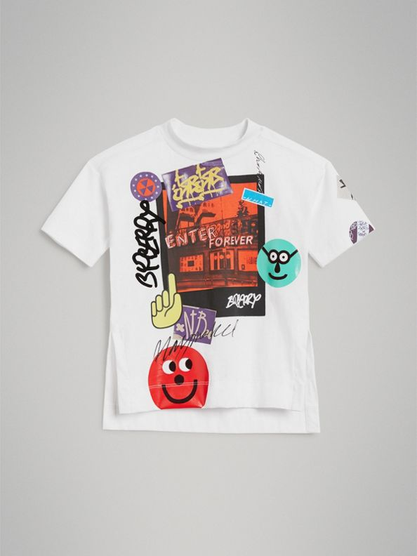 London Street Art Print Cotton T-shirt in White