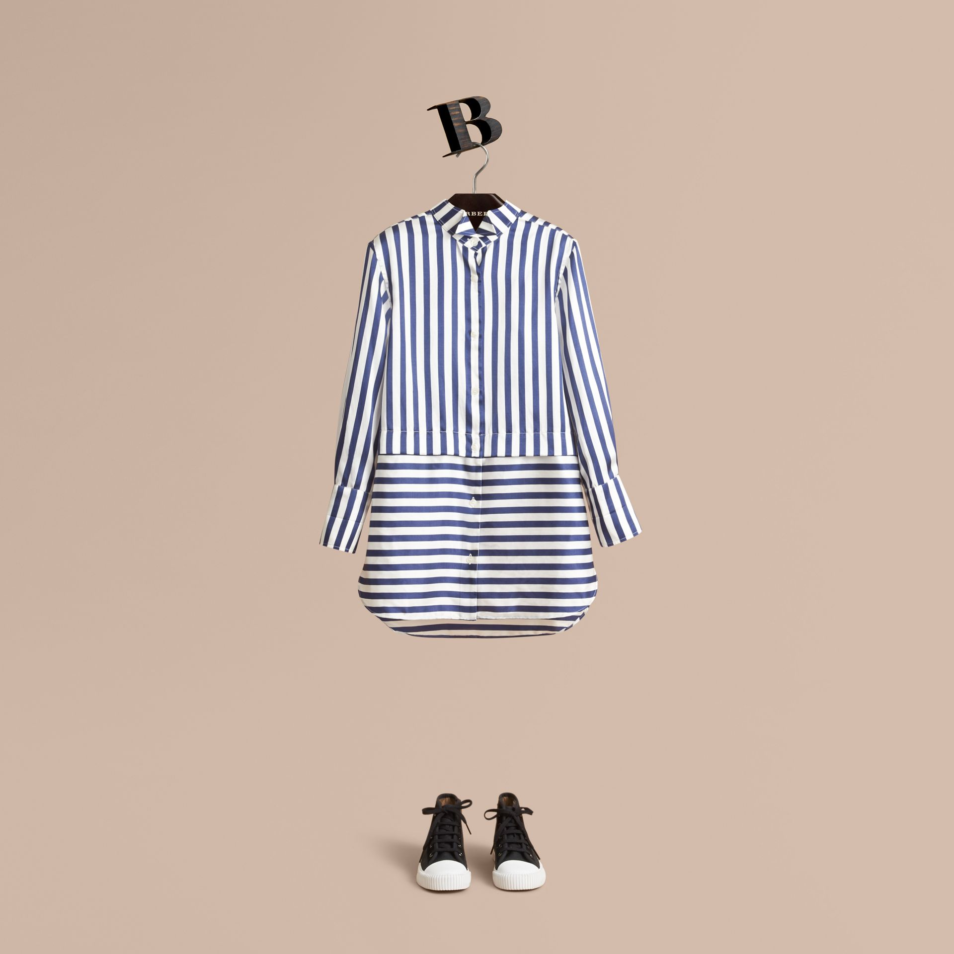 Striped Silk Cotton Shirt Dress - gallery image 1