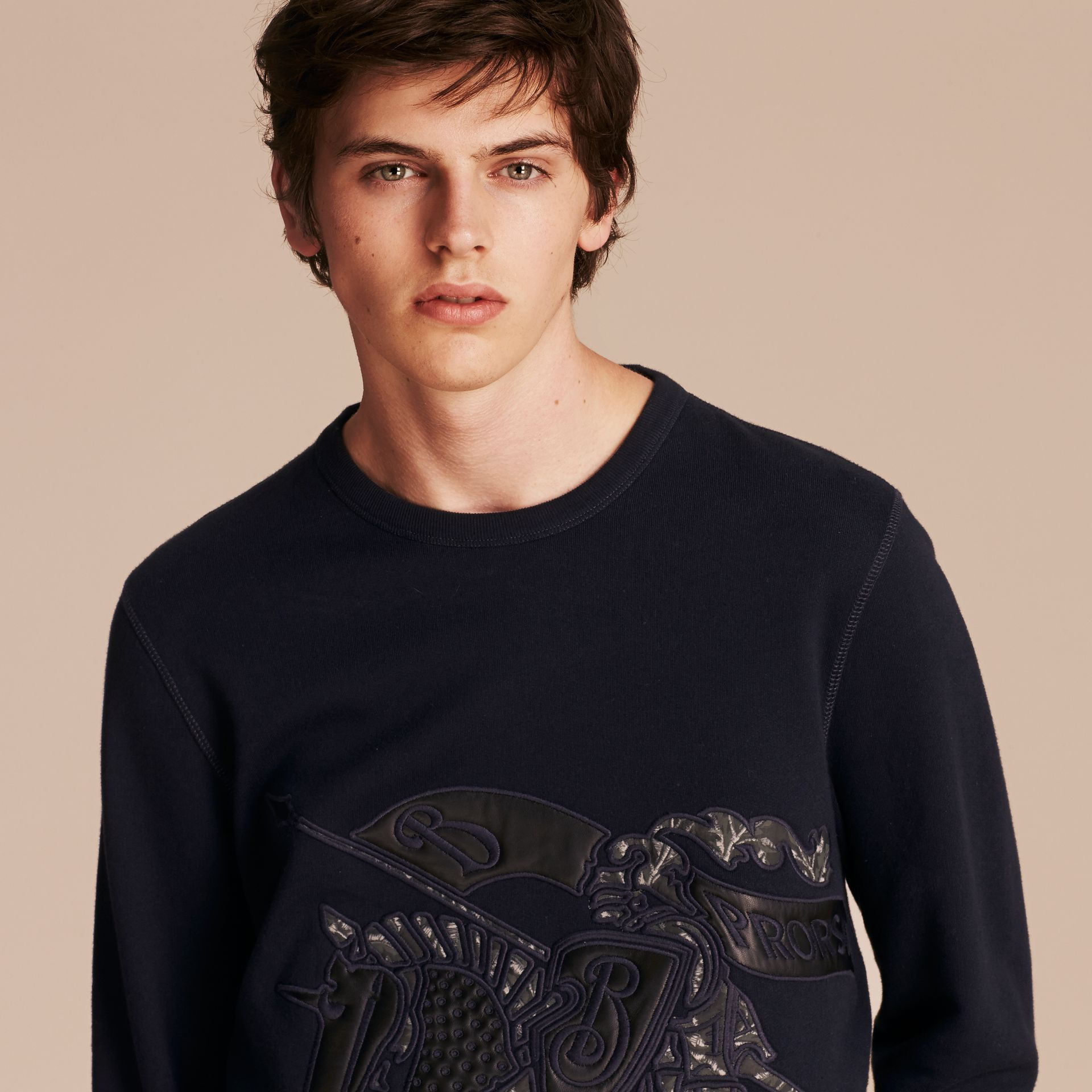 Equestrian Knight Device Cotton Blend Sweatshirt - Men | Burberry - gallery image 5