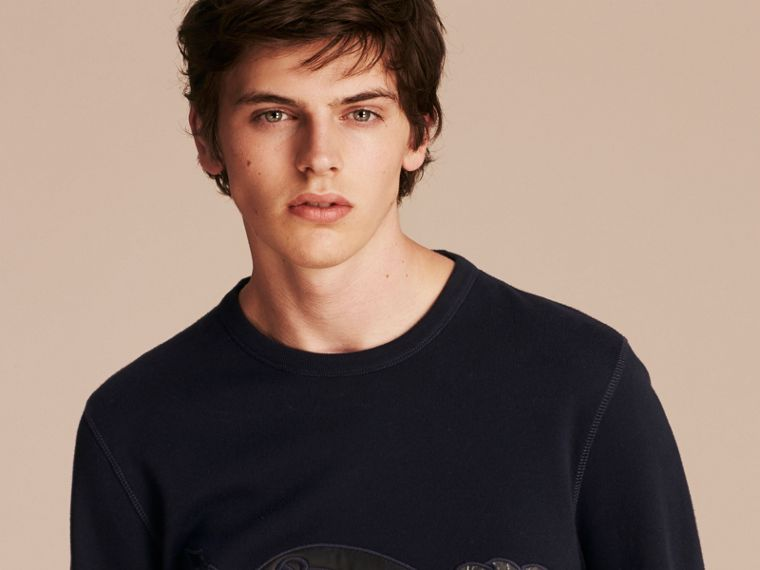 Equestrian Knight Device Cotton Blend Sweatshirt - Men | Burberry - cell image 4