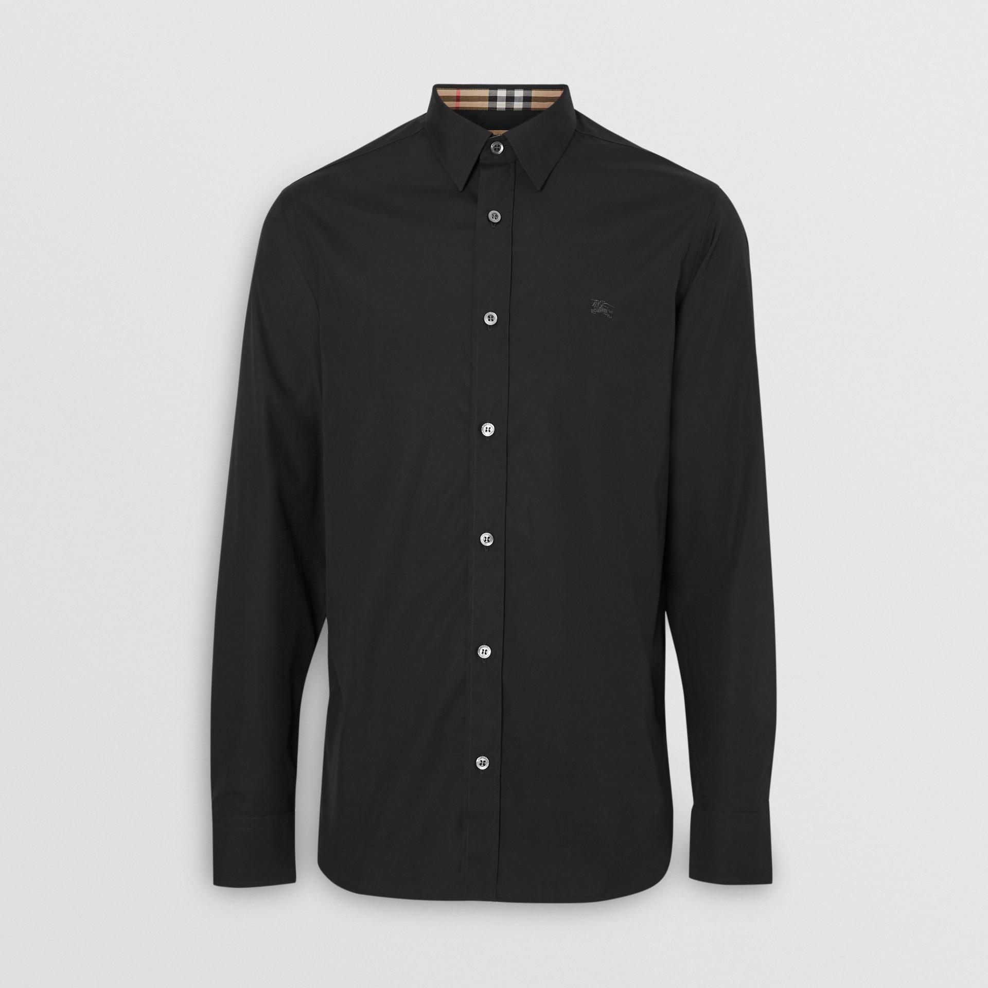 Suéter de lã merino com meio zíper (Preto) - Homens | Burberry - galeria de imagens 3
