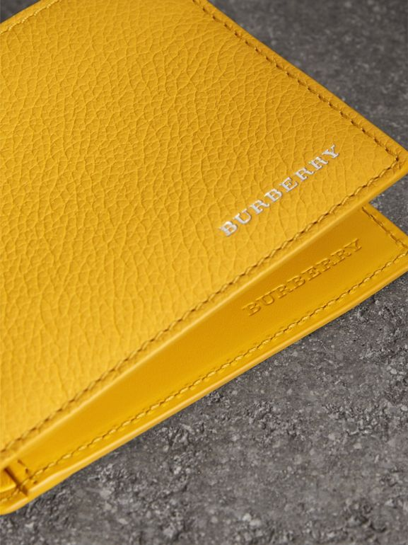Grainy Leather Bifold Wallet in Bright Ochre Yellow - Men | Burberry United States - cell image 1
