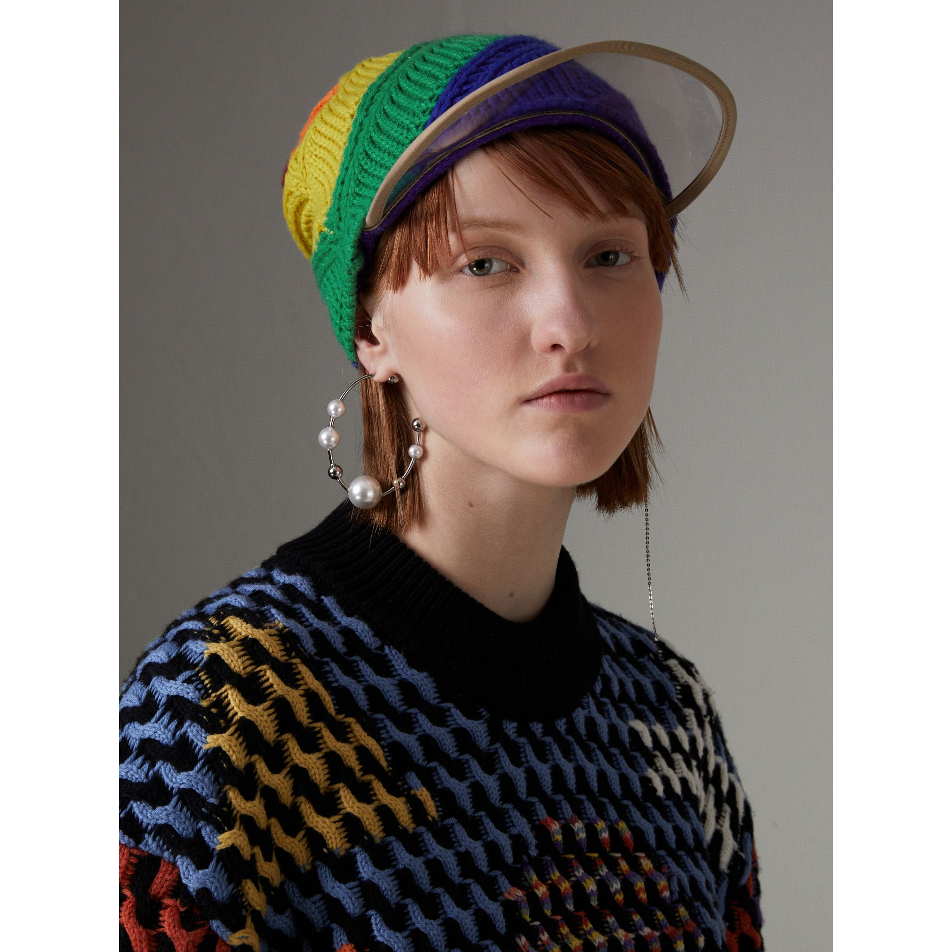 Rainbow Wool Cashmere Peaked Beanie | Burberry United Kingdom - gallery image 2