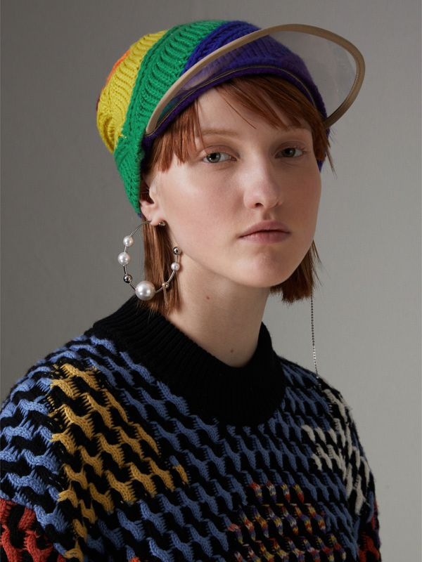 Rainbow Wool Cashmere Peaked Beanie | Burberry United Kingdom - cell image 2