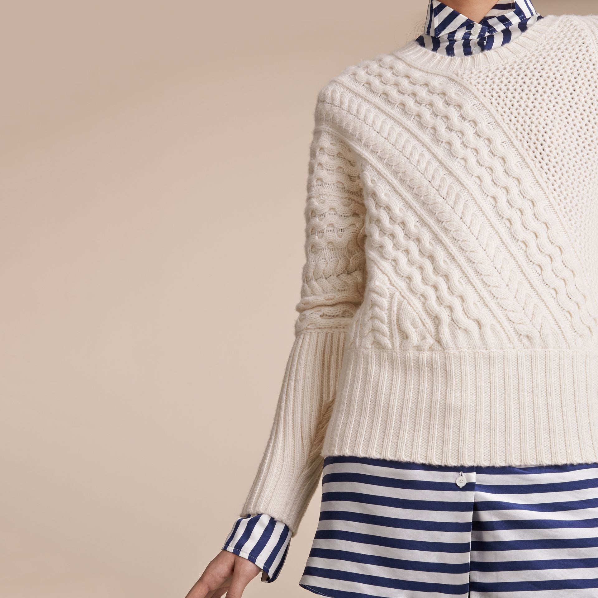 Cable and Rib Knit Panel Wool Cashmere Sweater in Natural White - Women | Burberry - gallery image 5
