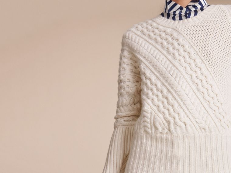 Cable and Rib Knit Panel Wool Cashmere Sweater in Natural White - Women | Burberry Hong Kong - cell image 4