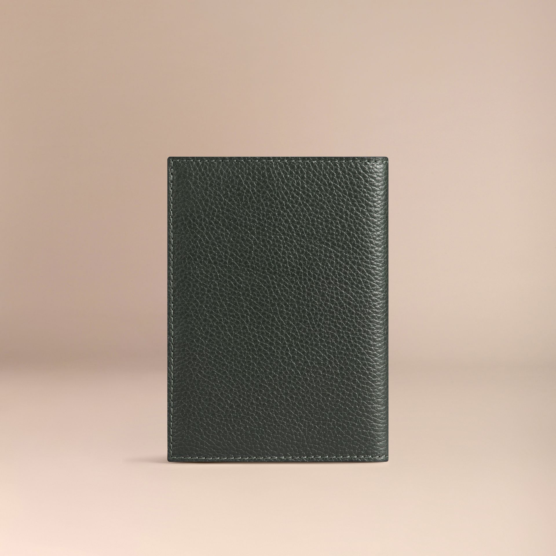 Grainy Leather Passport Cover in Dark Forest Green | Burberry - gallery image 2