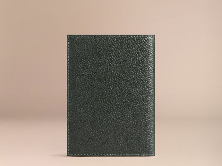 Grainy Leather Passport Cover in Dark Forest Green | Burberry - cell image 1