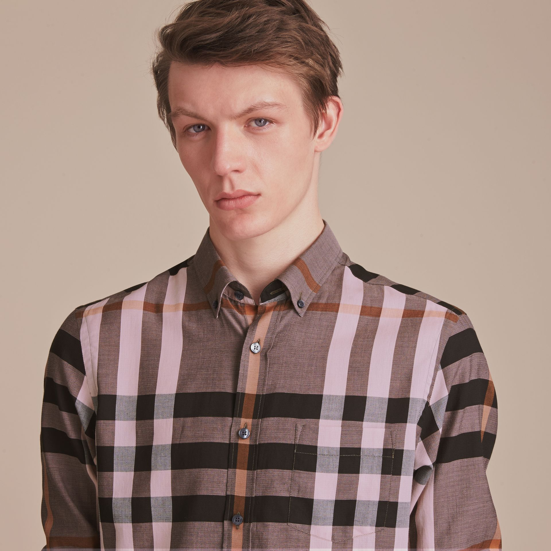 Button-down Collar Check Cotton Poplin Shirt in Antique Rose - Men | Burberry - gallery image 5