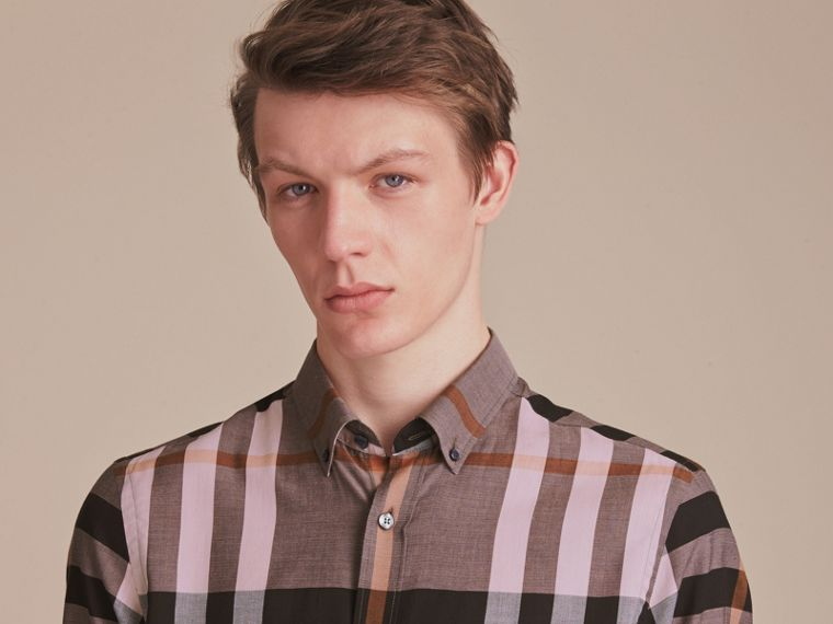 Button-down Collar Check Cotton Poplin Shirt in Antique Rose - Men | Burberry - cell image 4