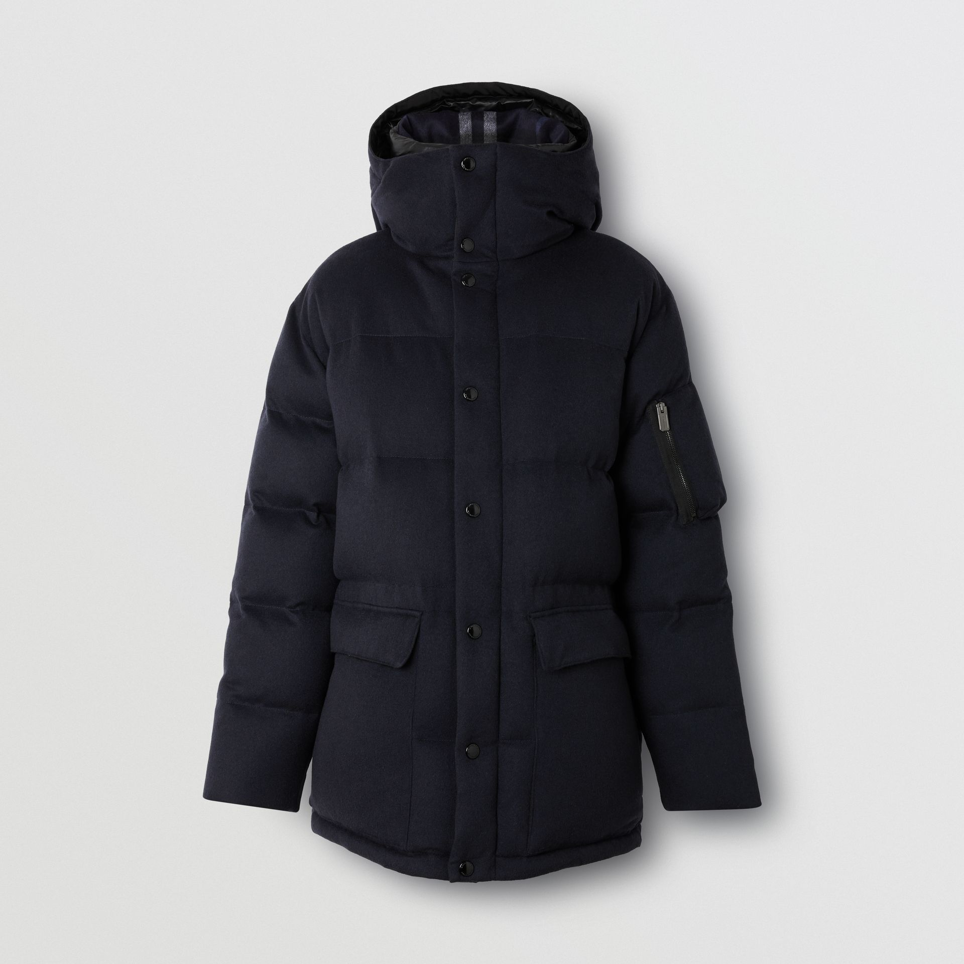 Cashmere Down-filled Hooded Jacket in Navy Melange - Men | Burberry - gallery image 3