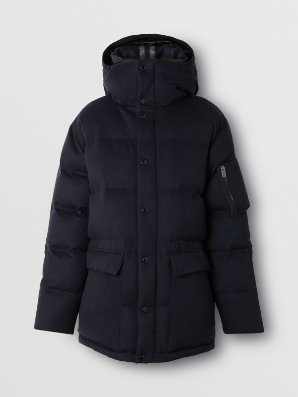 Cashmere Down-filled Hooded Jacket in Navy Melange - Men | Burberry - cell image 3