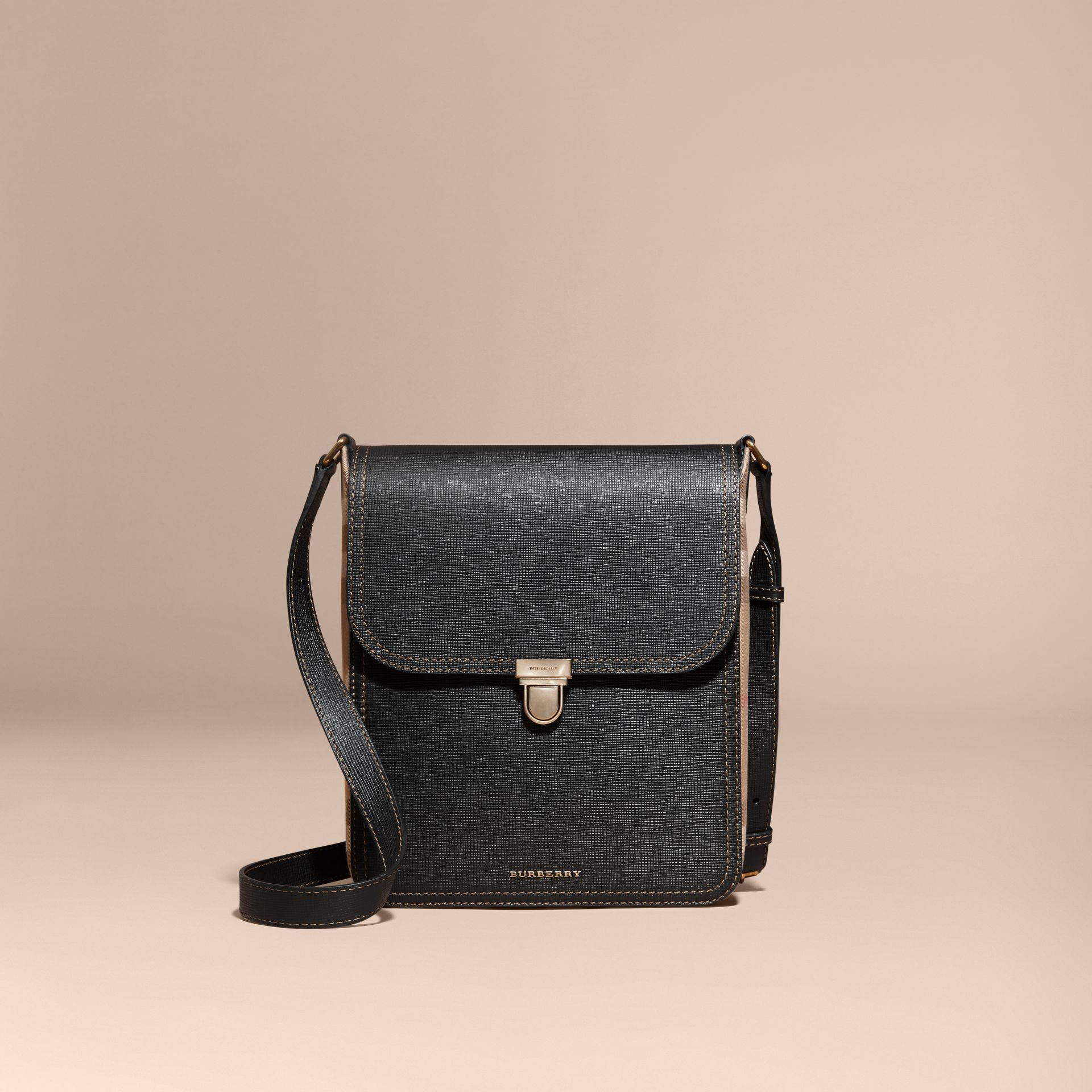 Black The Medium Satchel in Textural Leather and House Check - gallery image 8