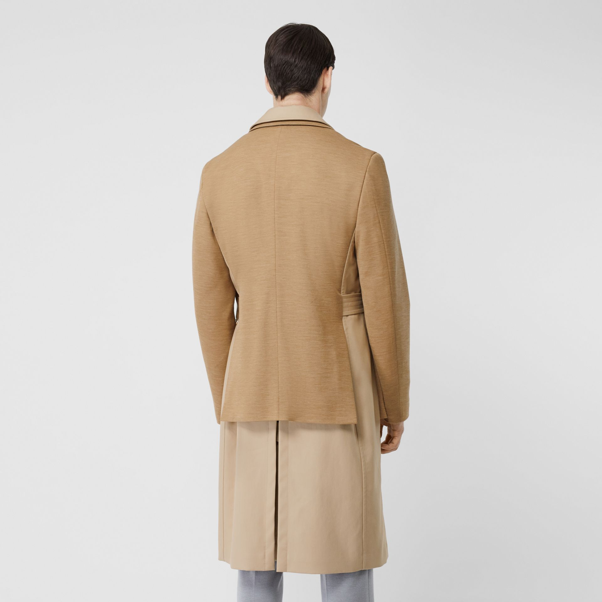 Blazer Detail Cotton Twill Reconstructed Trench Coat in Soft Fawn - Men | Burberry - gallery image 2
