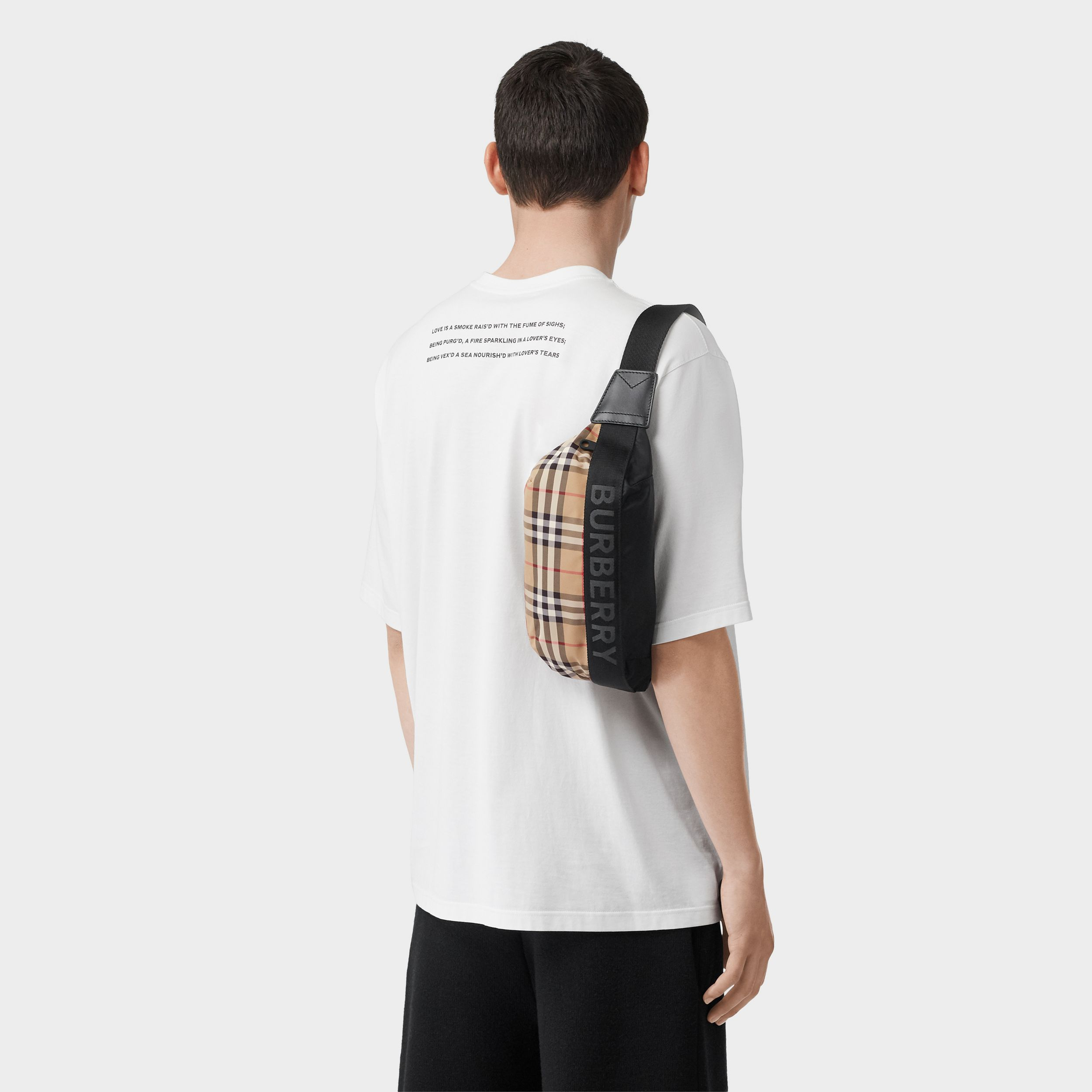 Medium Vintage Check ECONYL® Bum Bag in Archive Beige - Women | Burberry - 4