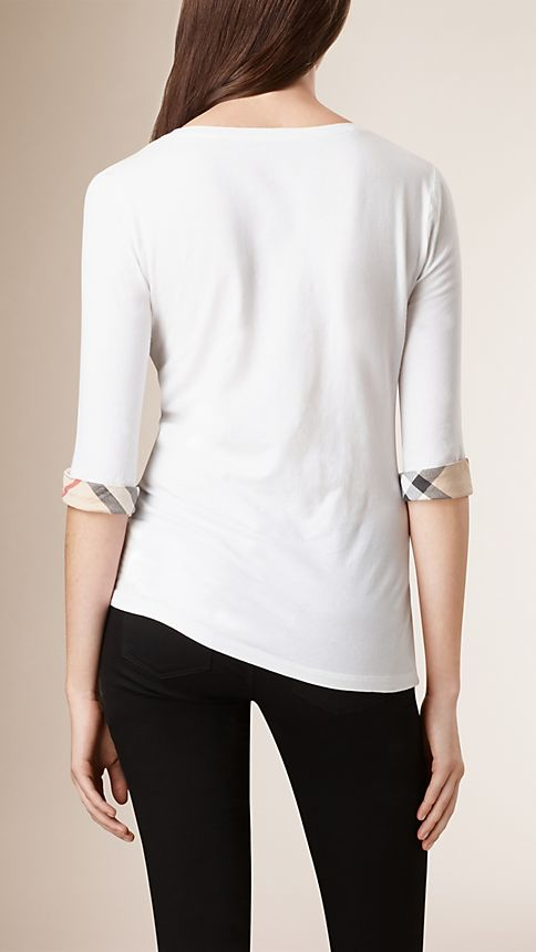 White Check Cuff Stretch-Cotton Top - Image 2
