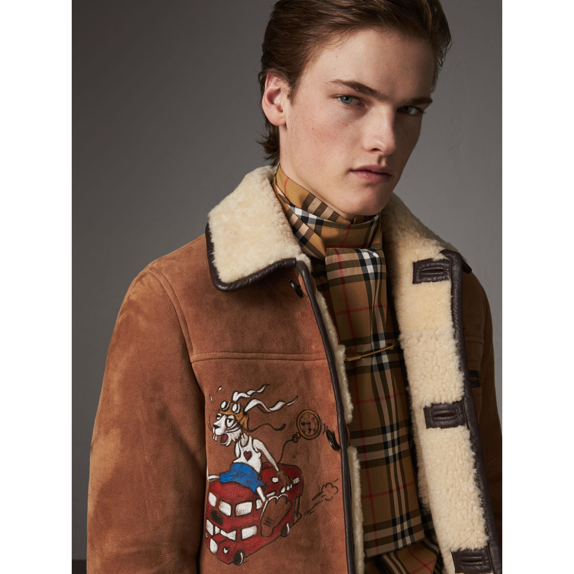 Sketch Print Shearling Jacket in Biscuit - Men | Burberry - gallery image 2