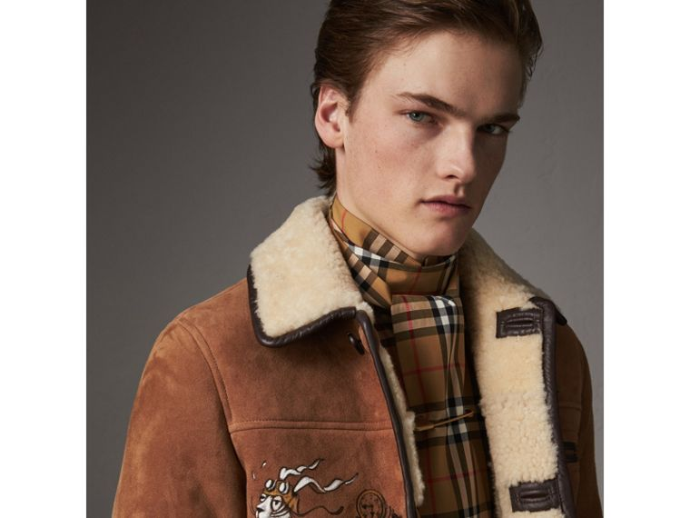 Sketch Print Shearling Jacket in Biscuit - Men | Burberry - cell image 1