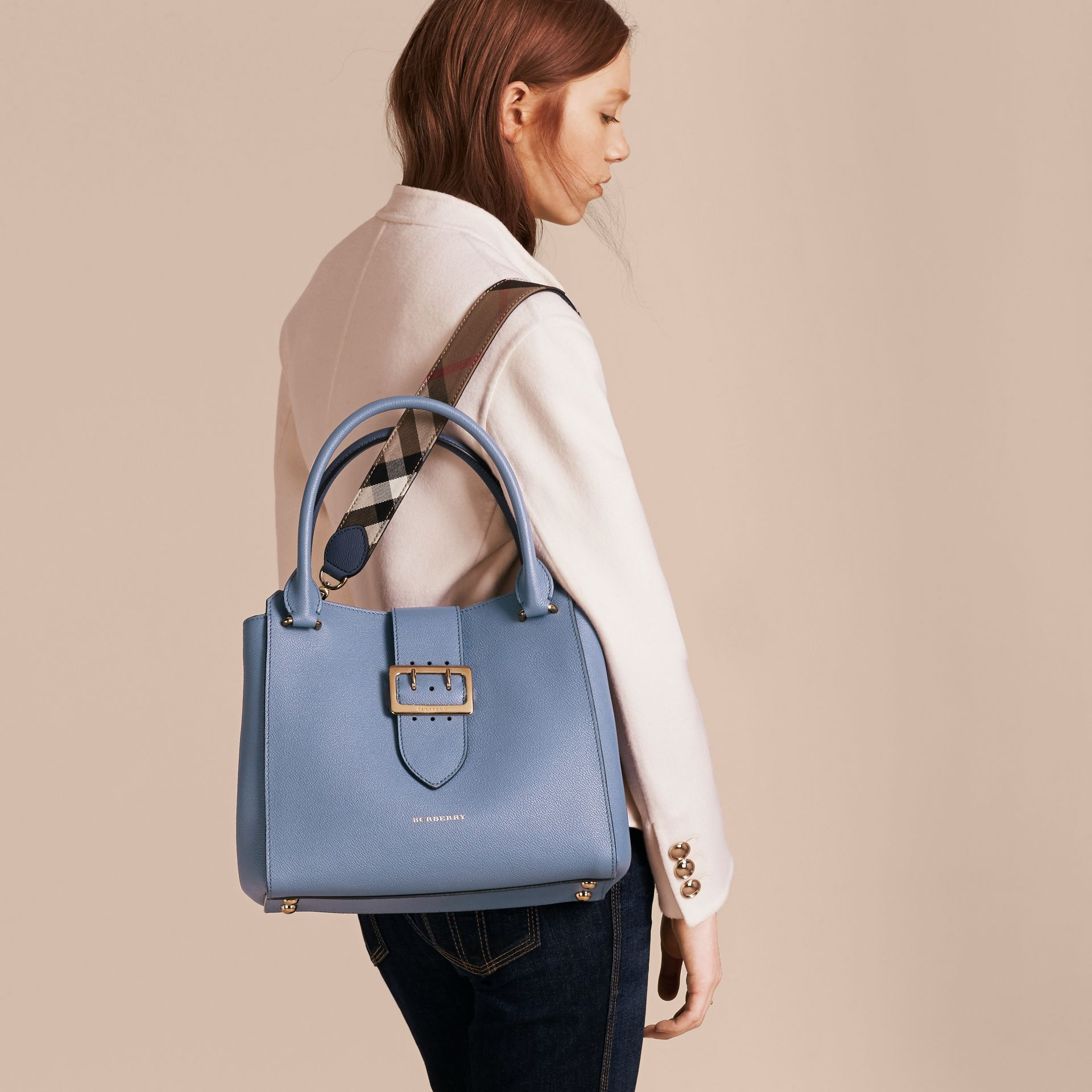 The Medium Buckle Tote in Grainy Leather in Steel Blue - gallery image 4