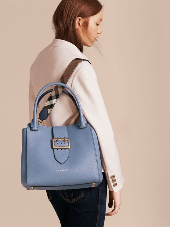 The Medium Buckle Tote in Grainy Leather in Steel Blue - cell image 3