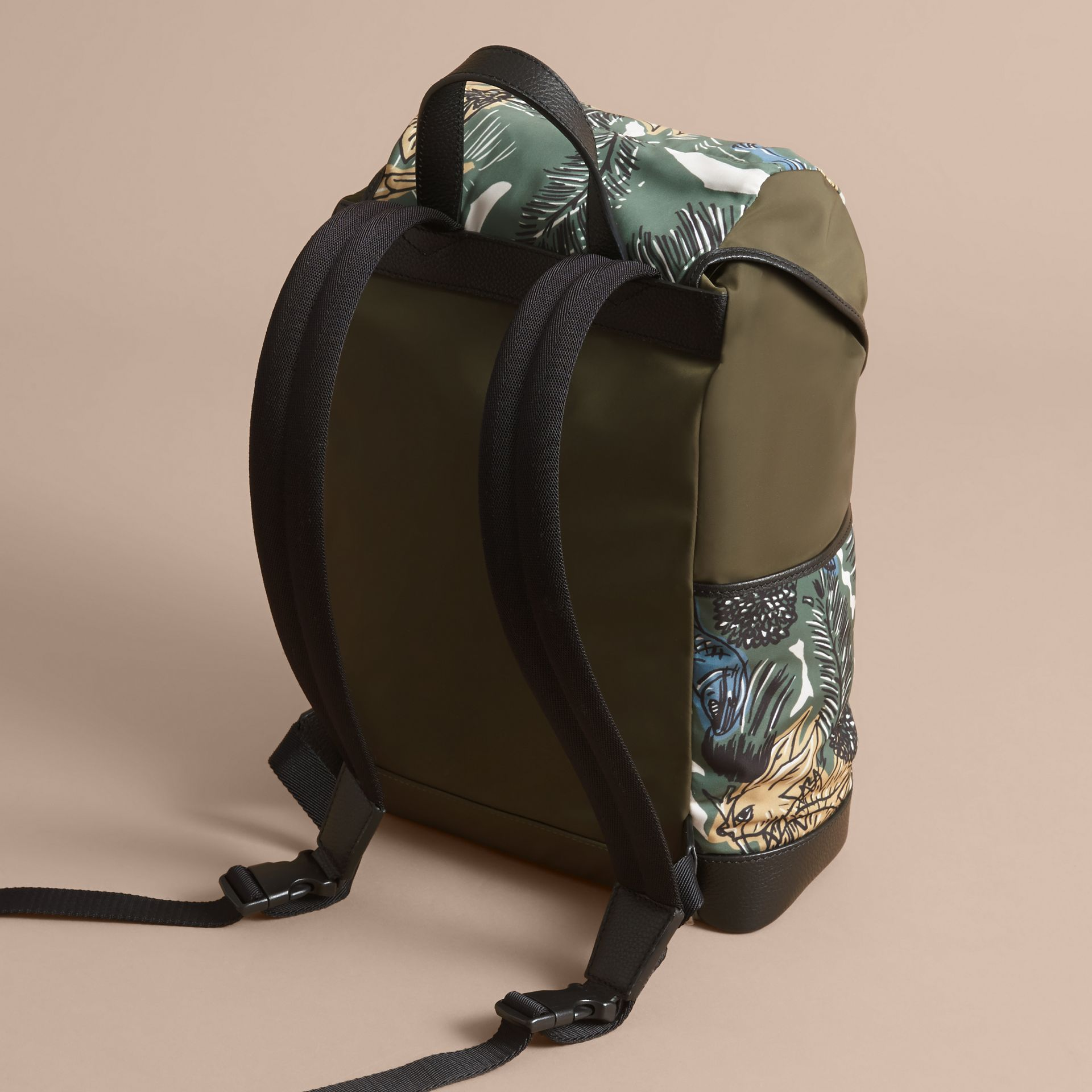 Leather Trim Lightweight Backpack in Sage Green | Burberry Australia - gallery image 3