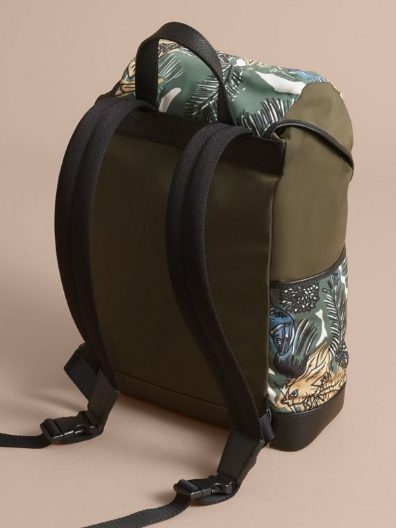 Leather Trim Lightweight Backpack in Sage Green | Burberry - cell image 2