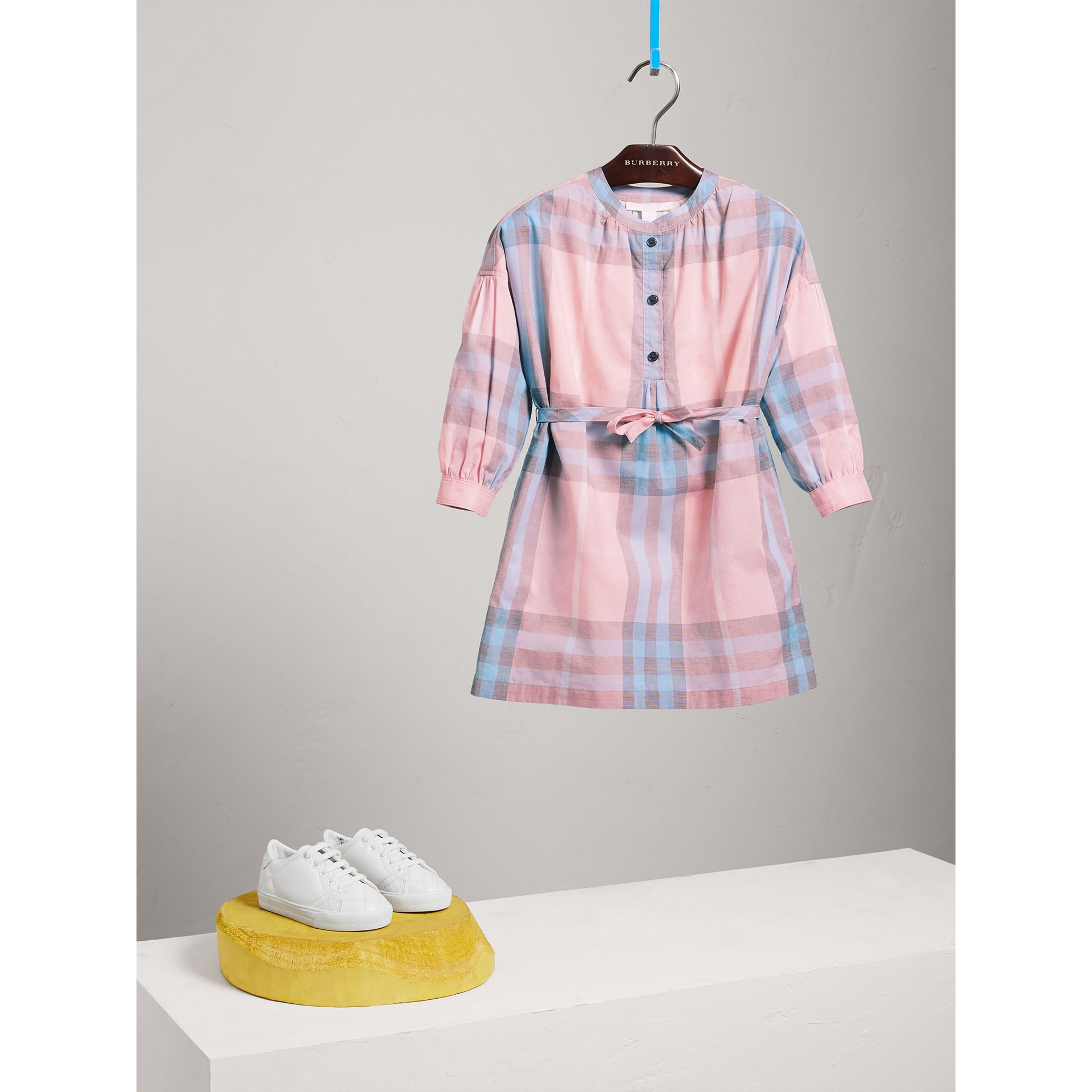 Check Cotton Shirt Dress in Ice Pink - Girl | Burberry - gallery image 2