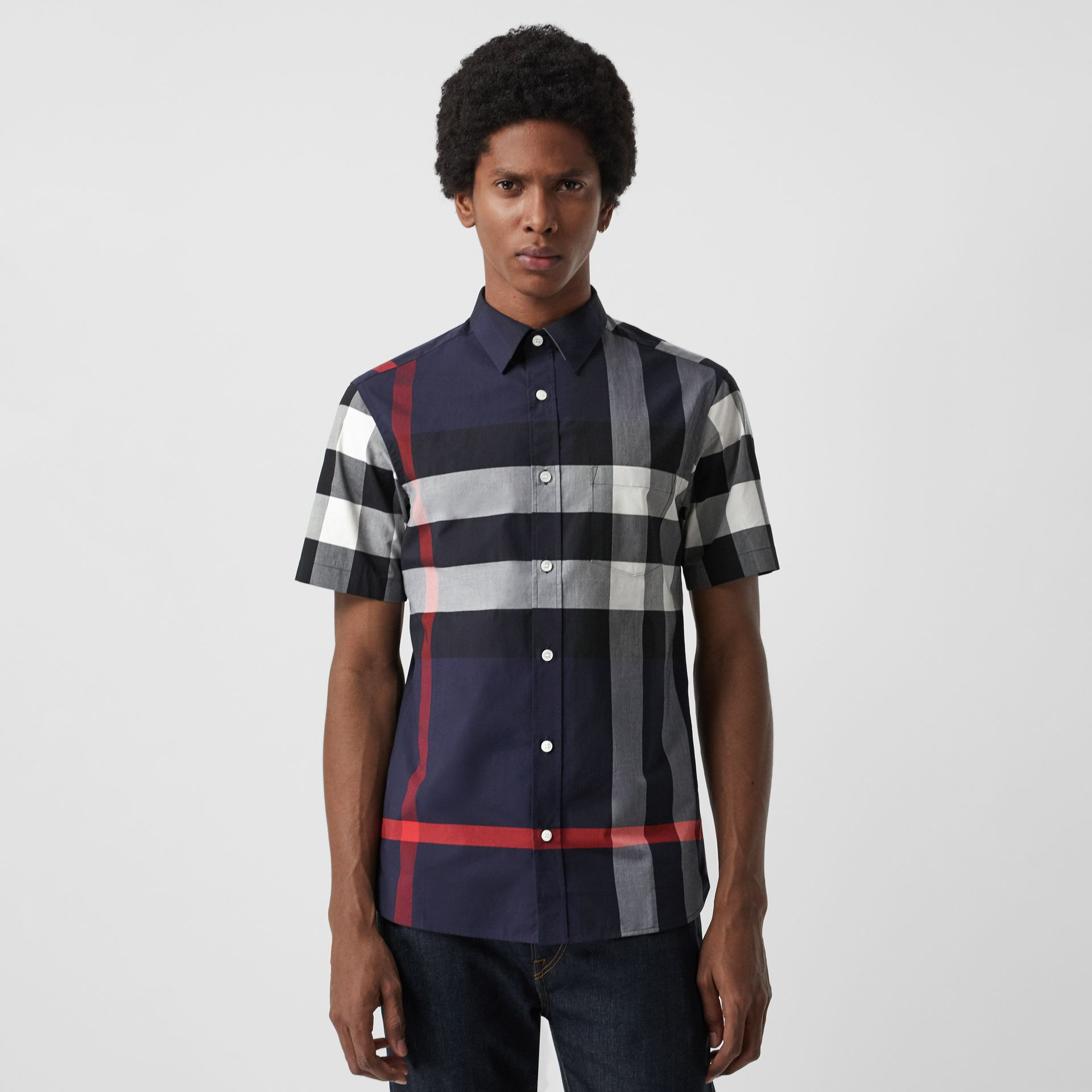 Short-sleeve Check Stretch Cotton Shirt in Navy - Men | Burberry Canada - gallery image 0