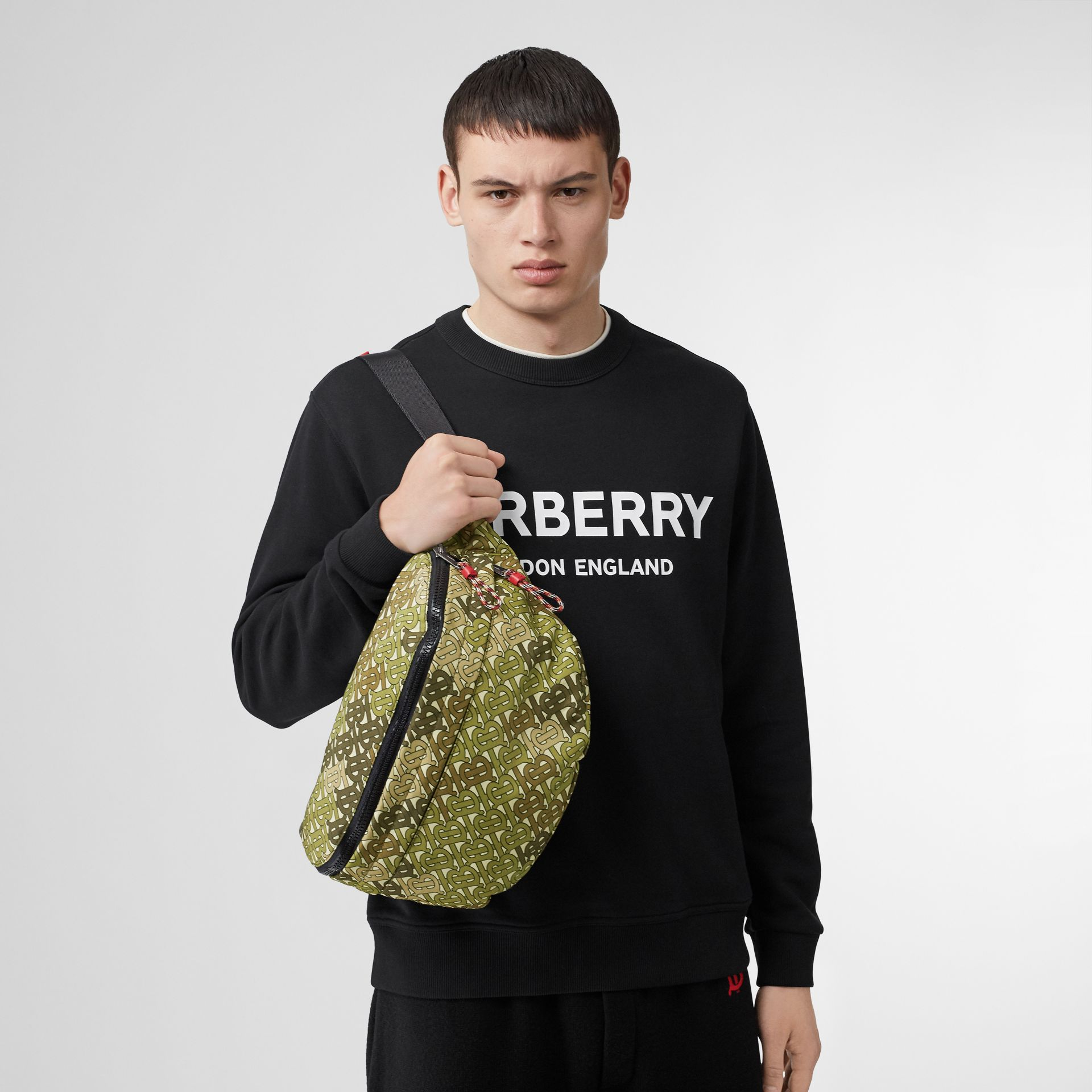 Monogram Print Panel Convertible Bum Bag in Khaki Green - Men | Burberry United States - gallery image 2