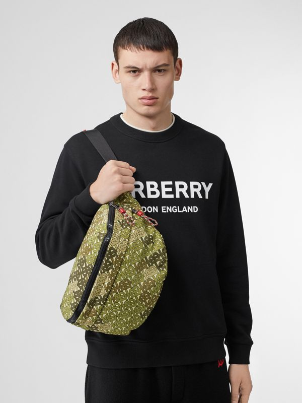Monogram Print Panel Convertible Bum Bag in Khaki Green - Men | Burberry United States - cell image 2
