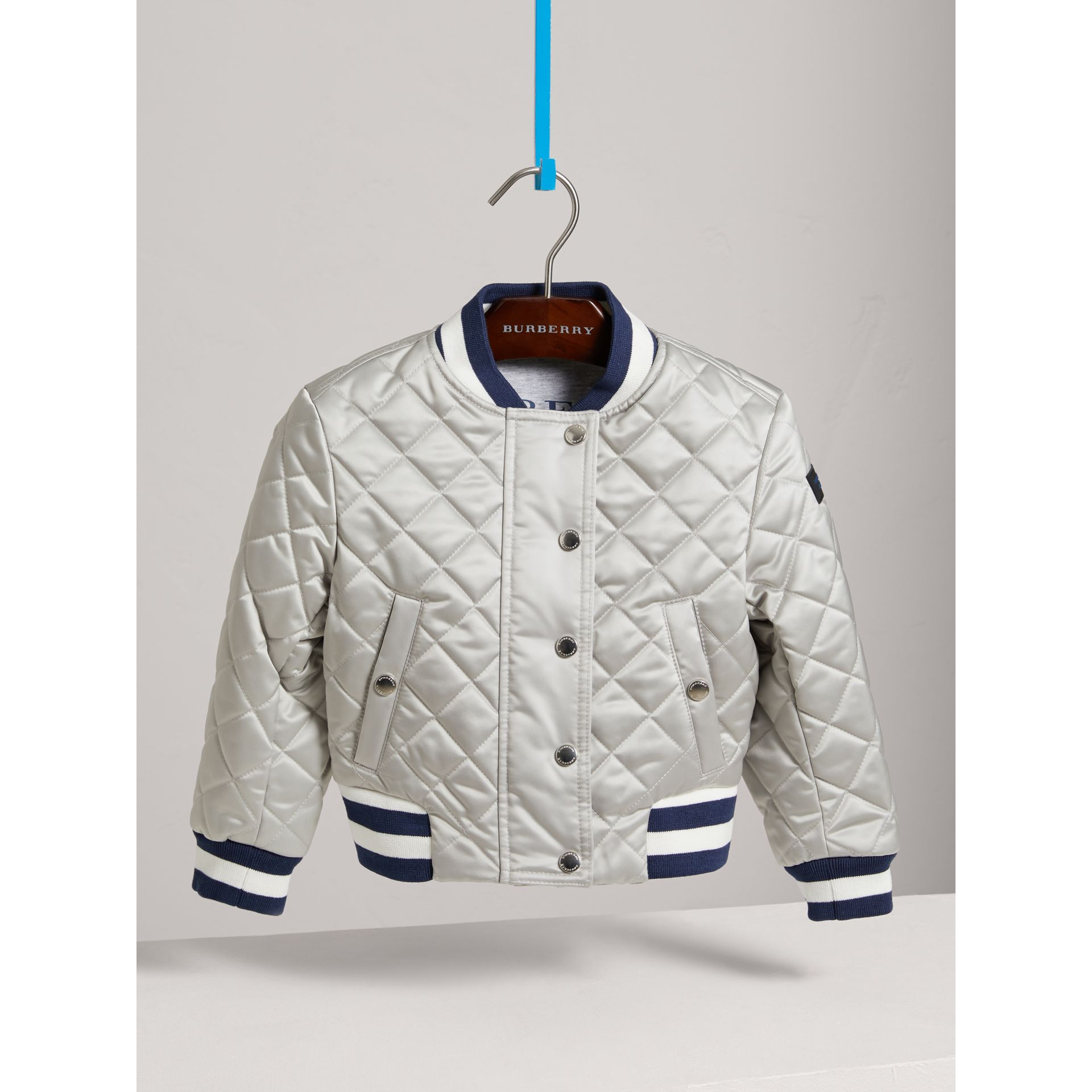 Stripe Detail Diamond Quilted Satin Bomber Jacket in Silver - Girl | Burberry - gallery image 2