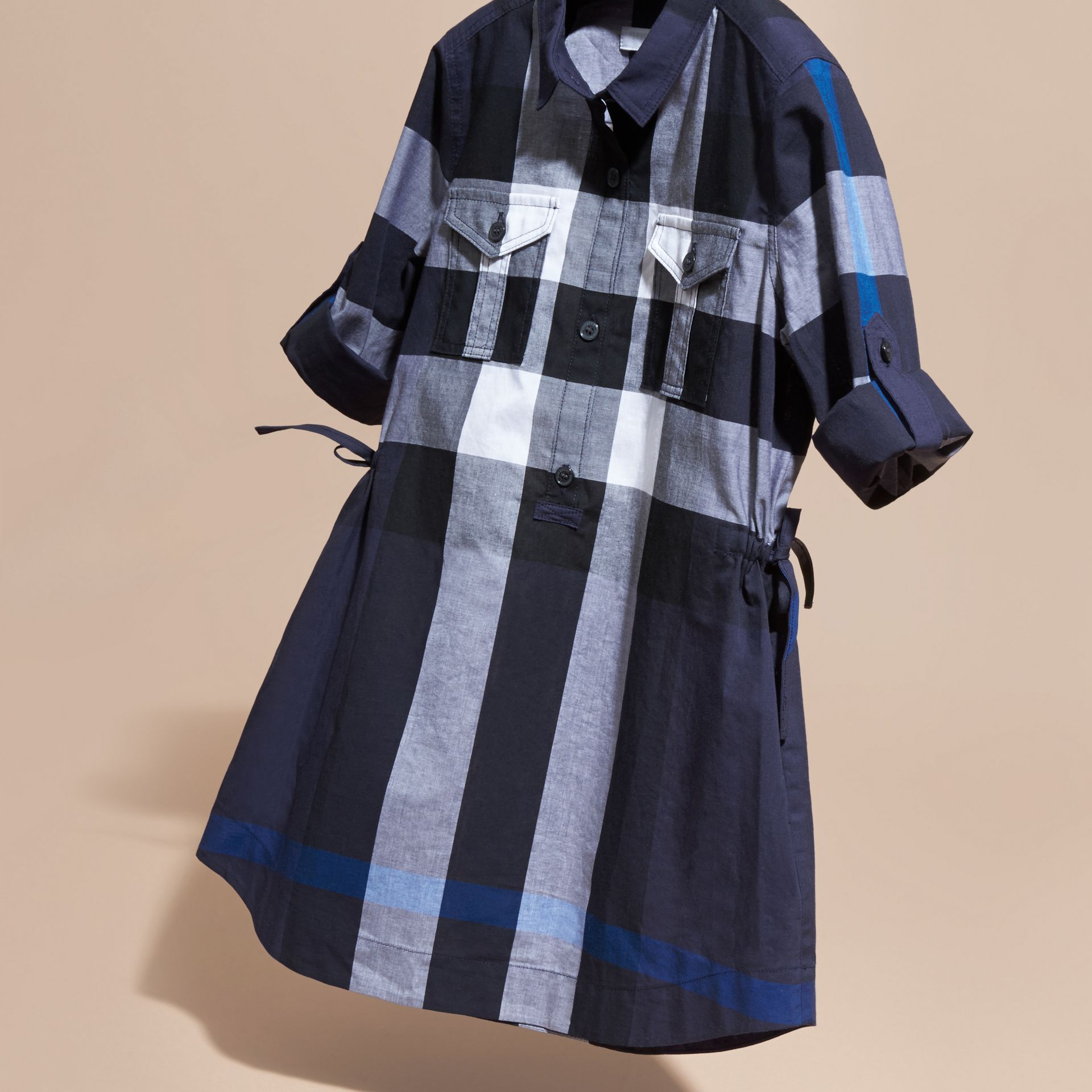 Check Cotton Shirt Dress in Navy - gallery image 3