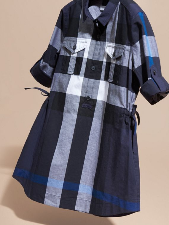 Check Cotton Shirt Dress Navy - cell image 2