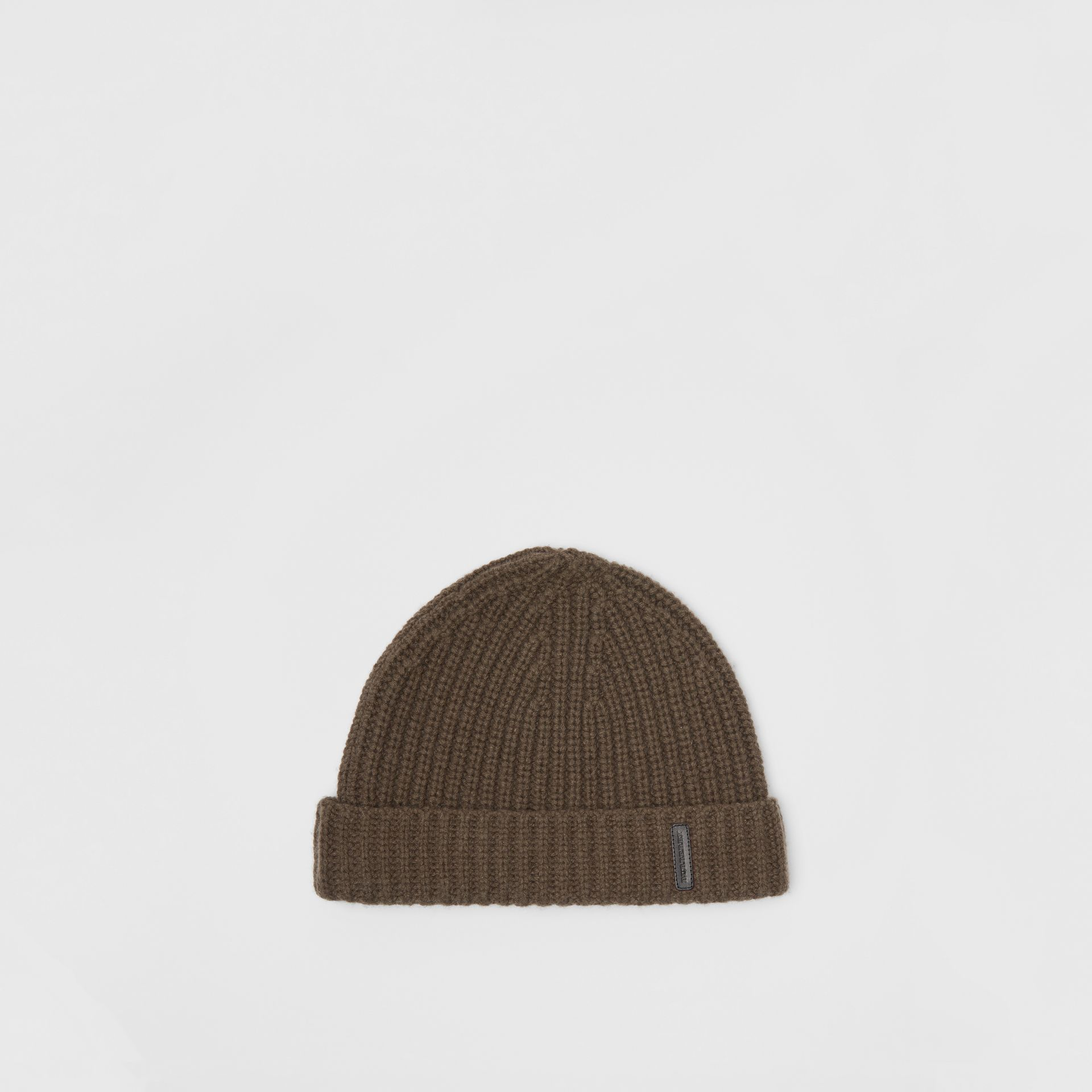 Rib Knit Cashmere Beanie in Olive Green | Burberry - gallery image 0