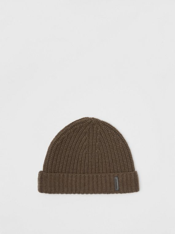 Rib Knit Cashmere Beanie in Olive Green