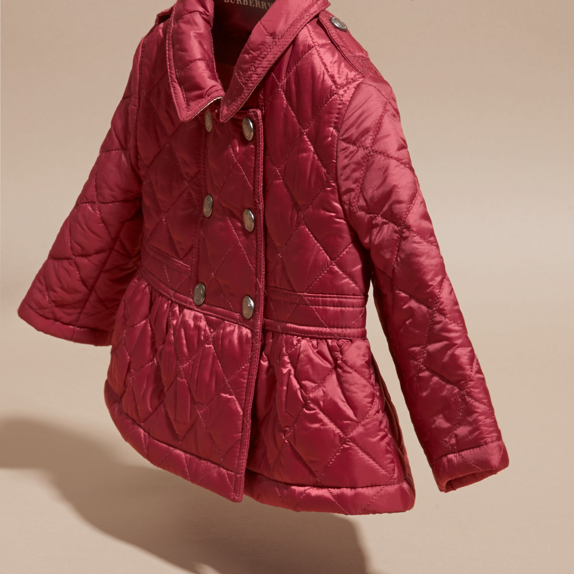Dark plum pink Quilted Peplum Jacket - gallery image 3