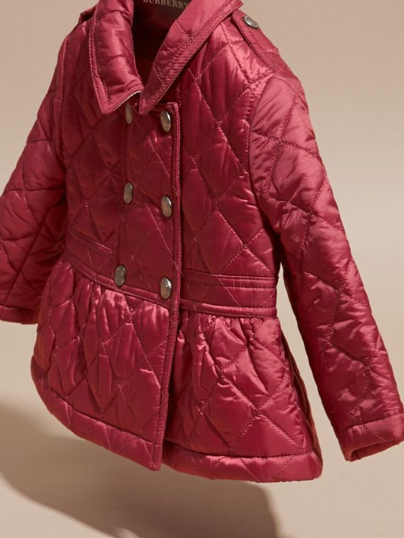 Dark plum pink Quilted Peplum Jacket - cell image 2