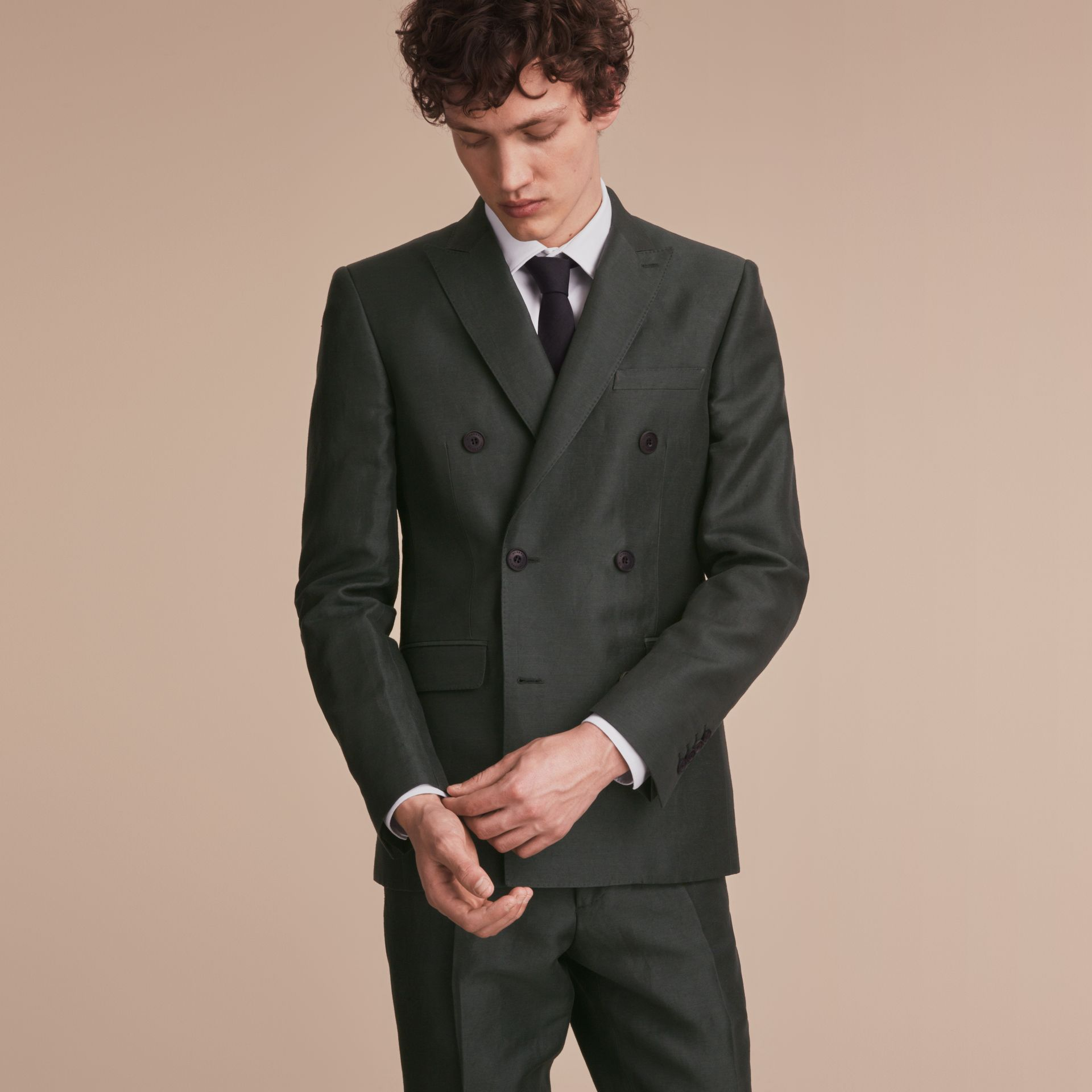 Slim Fit Travel Tailoring Linen Blend Suit in Slate Green - Men | Burberry - gallery image 8