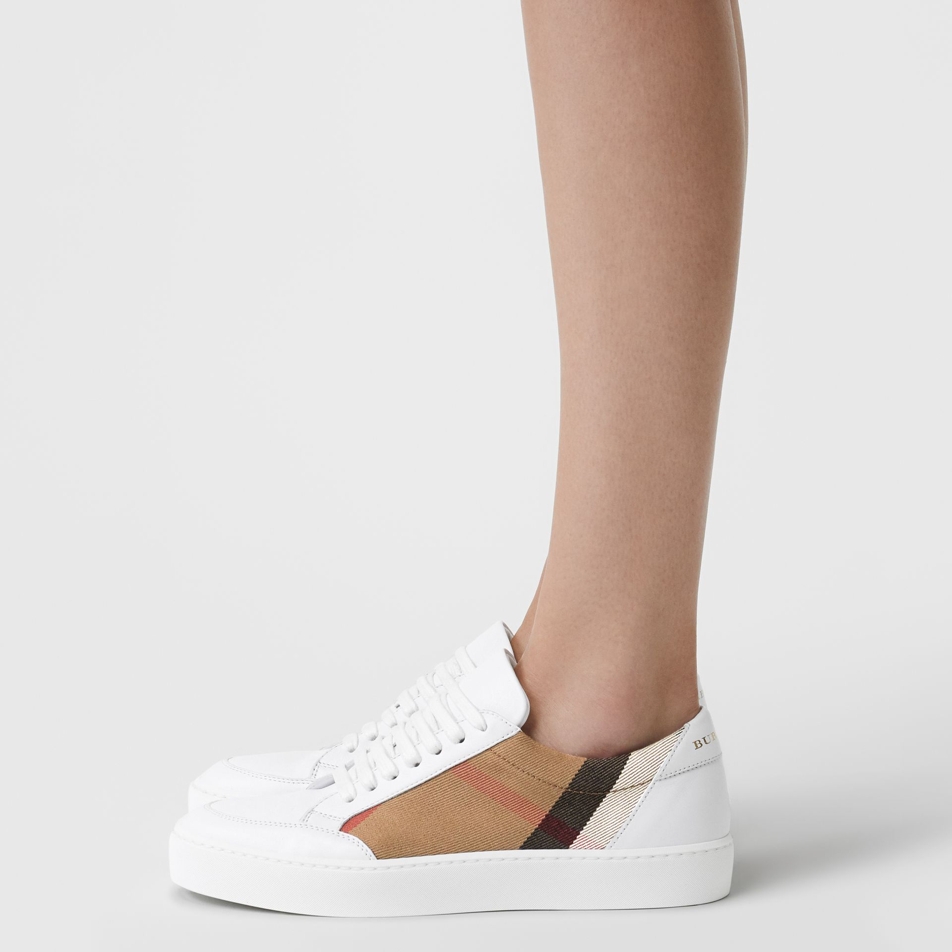 Check Detail Leather Sneakers in House Check/ Optic White - Women | Burberry - gallery image 2