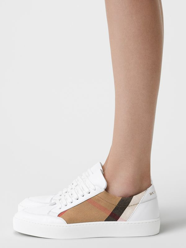 Check Detail Leather Sneakers in House Check/ Optic White - Women | Burberry Australia - cell image 2