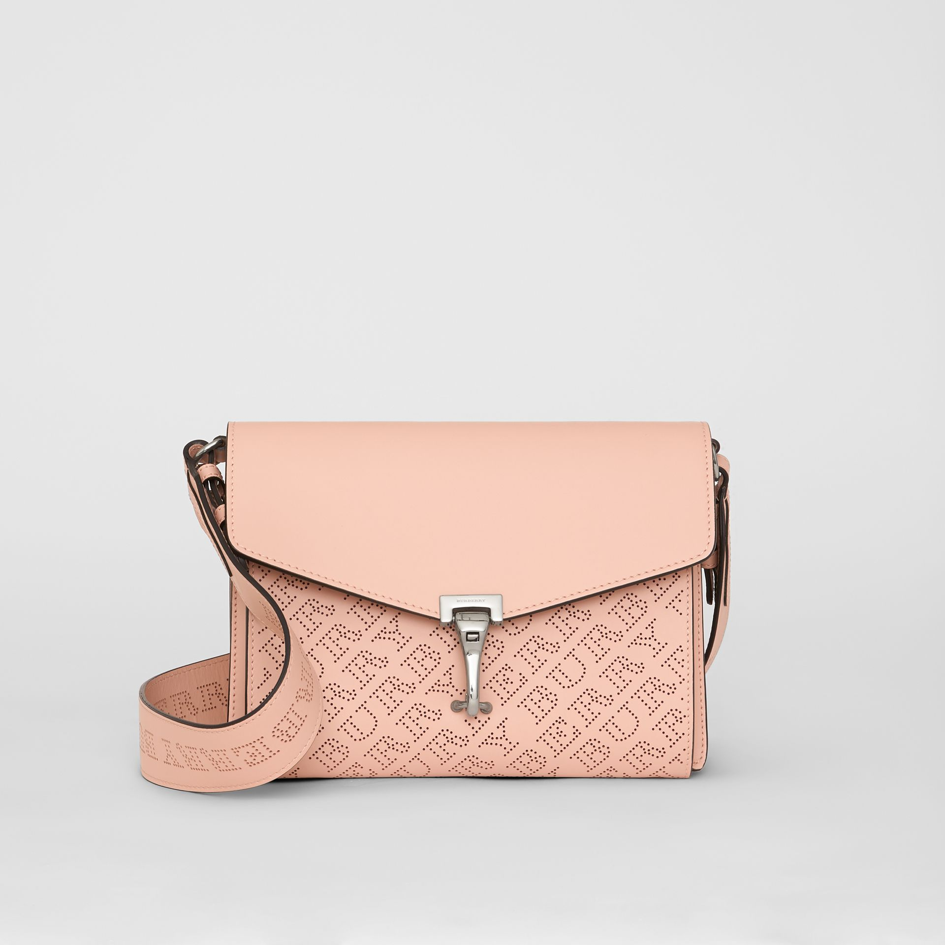 Small Perforated Logo Leather Crossbody Bag in Pale Fawn Pink - Women | Burberry - gallery image 0