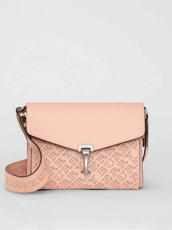 Small Perforated Logo Leather Crossbody Bag in Pale Fawn Pink