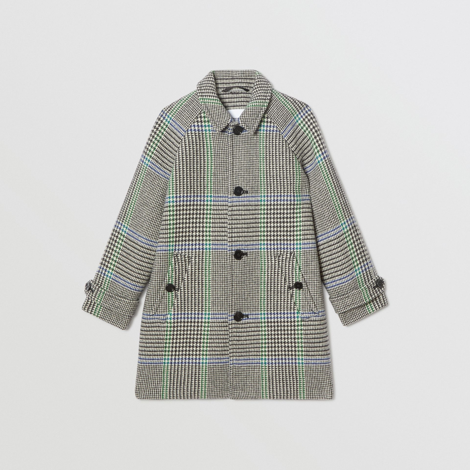 Houndstooth Check Wool Blend Car Coat in Clover Green | Burberry - gallery image 0